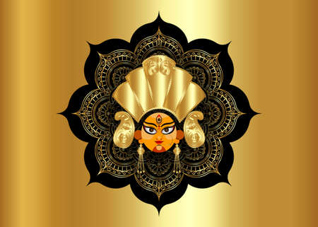Happy Navratri, Goddess Durga Face in Happy Durga Puja Subh Navratri Indian religious header banner mandala background with luxury golden mandala. Vector isolated on gold texture background