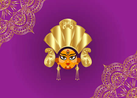 Happy Navratri, Goddess Durga Face in Happy Durga Puja Subh Navratri Indian religious header banner background with luxury golden mandala. Vector isolated on purple background