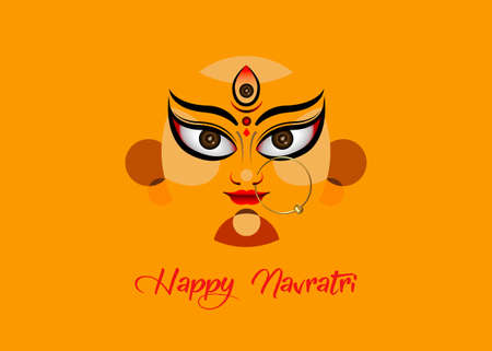 Happy Navratri, Goddess Durga Face in Happy Durga Puja Subh Navratri Indian religious header banner background with luxury golden earring. Vector isolated on orange background