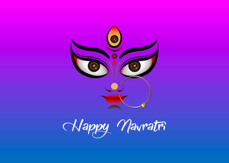 Happy Navratri, Goddess Durga Face in Happy Durga Puja Subh Navratri Indian religious header banner background with luxury golden earring. Vector isolated on colorful background  イラスト・ベクター素材