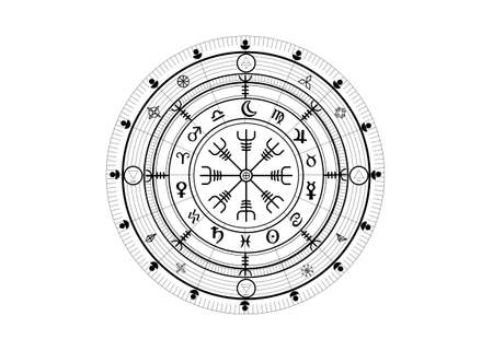Wiccan symbol of protection. Vegvisir, The Viking Compass, Mystic Wicca divination. Ancient occult symbols, Earth Zodiac Wheel of the Year Wicca Astrological signs, vector isolated or white background  イラスト・ベクター素材