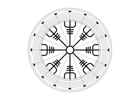 Helm of awe, icelandic magical stave, Vegvisir runic compass. Viking symbols for the purpose of protection from disease. Very Old and Sacred Norse sign vector isolated on white background
