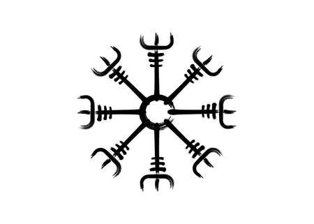 Helm of awe, icelandic magical stave, Vegvisir runic compass. Viking symbols for the purpose of protection from disease. Very Old and Sacred Norse sign grunge paint brush stroke style vector isolated  イラスト・ベクター素材