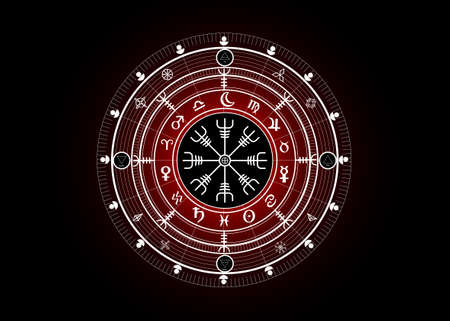 Wiccan symbol of protection. Vegvisir, The Viking Compass, Mystic Wicca divination. Ancient occult symbols, Earth Zodiac Wheel of the Year Wicca Astrological signs, vector isolated or black background