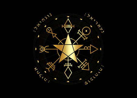 First Pentacle of Venus, seals magical talisman. Sacred geometry. Vegvisir compass mystical Characters gold amulet, tattoo art, logo, prints. Stock vector illustration isolated black background  イラスト・ベクター素材