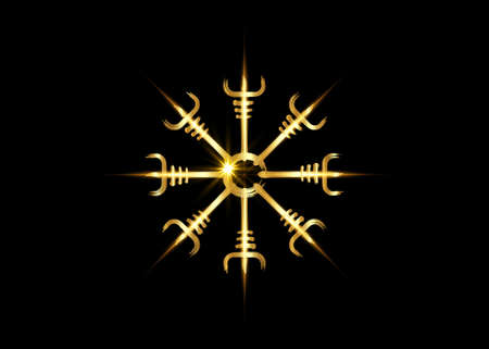 Helm of awe, icelandic magical stave, Gold Vegvisir runic compass. Viking symbols for the purpose of protection from disease. Very Old and Sacred Norse golden fire sign vector isolated on black