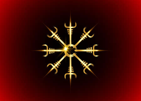 Helm of awe, icelandic magical stave, Gold Vegvisir runic compass. Viking symbols for the purpose of protection from disease. Very Old and Sacred Norse golden fire sign vector isolated on red black