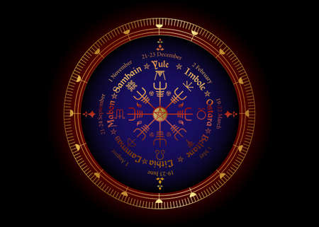 Wheel of the Year is an annual cycle of seasonal festivals, observed by many modern Pagans. Wiccan calendar and holidays. Norse Vegvisir Compass and pentagram symbol, names in Celtic of the Solstices