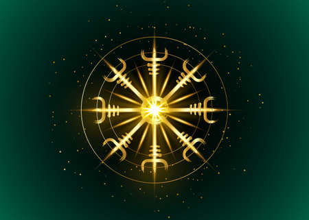 Helm of awe, icelandic magical stave, Gold round Vegvisir runic compass. Viking symbols for the purpose of protection from disease. Old Sacred Norse golden fire sign vector isolated on dark green