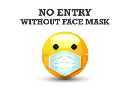 3d cartoon bubble emoticon face with medical mask. No Entry Without Face Mask or Wear a surgical Mask Icon. Mask that protects against coronaviruses around, vector isolated on white background  イラスト・ベクター素材