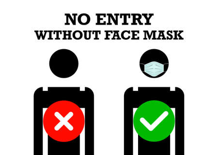No Entry Without Face Mask or Wear a surgical Mask Icon. Medical mask that protects against coronaviruses around, vector isolated on white background
