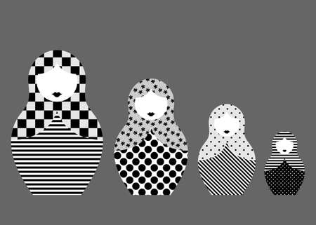 Russian nesting dolls matrioshka, set icon symbol of Russia, geometric pattern in black and white style, vector isolated on gray background 向量圖像