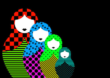 Russian nesting dolls matrioshka, set icon colorful symbol traditional of Russia, vector isolated on black background 向量圖像