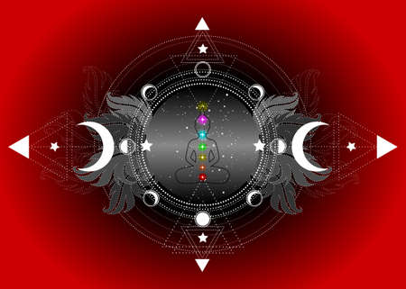 Chakras concept. Inner love, light and peace. Buddha silhouette in lotus position over ornate mandala lotus flower and Moon phases Sacred Geometry, spiritual yoga. Vector isolated on red background