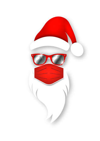 Santa Claus head label wears surgical mask concept, red hat and white beard with sunglasses. Paper cut style. Merry Christmas Santa Claus logo design coronavirus protection, vector isolated on white