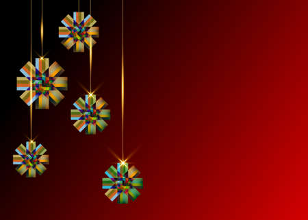 Modern vector decorative ornamental Christmas colorful Ribbon bows, holiday and celebration banner, vector isolated on dark red background