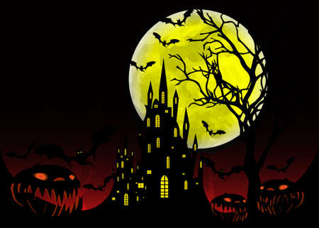 Halloween party, Mystic vector illustration, dark background on a spooky full moon with silhouettes of characters and scary bats with gothic haunted castle, horror party event theme concept