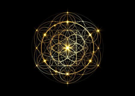 Seed of life symbol Sacred Geometry. Geometric mystic mandala of alchemy esoteric Flower of Life. Gold luxury design, vector divine meditative amulet isolated on dark blue background Vettoriali