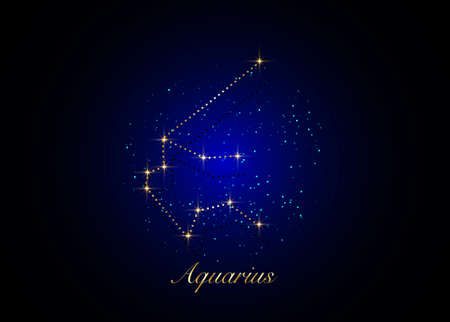 Aquarius zodiac constellations sign on beautiful starry sky with galaxy and space behind. Gold Aquarium horoscope symbol constellation on deep cosmos background. vector