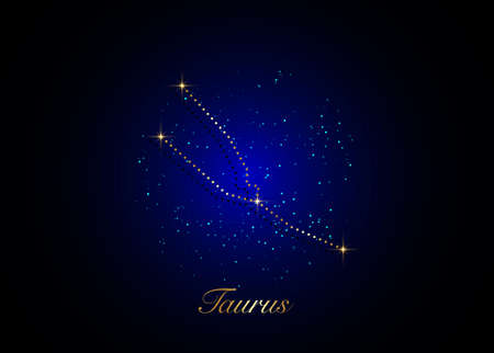 Taurus zodiac constellations sign on beautiful starry sky with galaxy and space behind. Gold Taurus horoscope symbol constellation on deep cosmos background