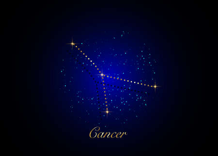Cancer zodiac constellations sign on beautiful starry sky with galaxy and space behind. Gold Cancer horoscope symbol constellation on deep cosmos background  イラスト・ベクター素材