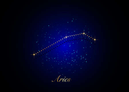 Aries zodiac constellations sign on beautiful starry sky with galaxy and space behind. Gold Aries horoscope symbol constellation on deep cosmos background