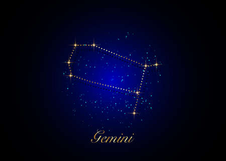 Gemini zodiac constellations sign on beautiful starry sky with galaxy and space behind. Gold Gemini horoscope symbol constellation on deep cosmos background