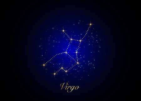 Virgo zodiac constellations sign on beautiful starry sky with galaxy and space behind. Gold Virgin horoscope symbol constellation on deep cosmos background