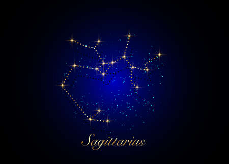 Sagittarius zodiac constellations sign on beautiful starry sky with galaxy and space behind. Gold Archer sign horoscope symbol constellation on deep cosmos background. vector  イラスト・ベクター素材