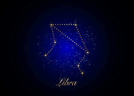 Libra zodiac constellations sign on beautiful starry sky with galaxy and space behind. Gold Balance horoscope symbol constellation on deep cosmos background.