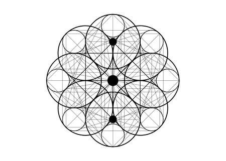 Seed of life symbol Sacred Geometry. Logo icon Geometric mystic mandala of alchemy esoteric Flower of Life. Holy trinity sign Vector black tattoo divine meditative amulet isolated on white background
