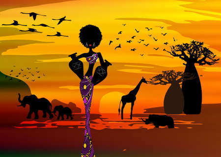 sunset landscape of forest baobab trees, elephants in the savannah and African curly woman carrying water in the pots, dressed in traditional ankara dress. Batik concept savannah safari background  イラスト・ベクター素材