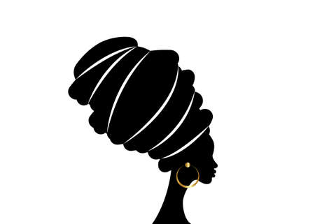 portrait beautiful African woman in traditional turban, black women vector silhouette logo design hairstyle concept, vector illustration isolated on white background