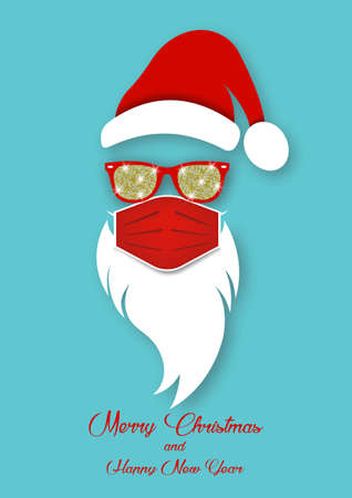 Santa Claus wearing surgical mask, red hat and white beard with glitter sunglasses. Paper cut style. Merry Christmas Santa Claus design coronavirus protection, vector isolated on blue background