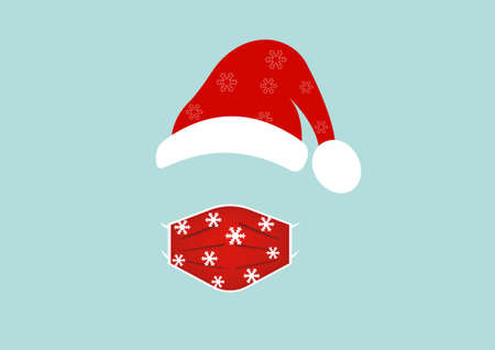 Santa Claus head label wearing surgical mask and red hat. Merry Christmas, Santa Claus design for coronavirus protection wear a medical mask, vector isolated on blue background  イラスト・ベクター素材