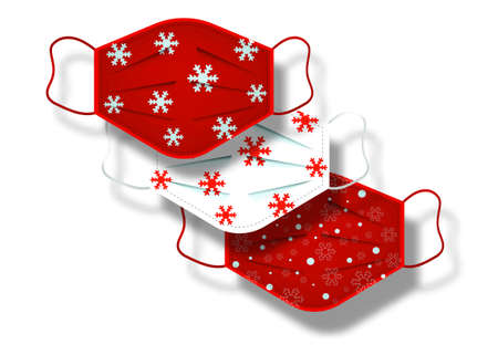 Christmas pattern of surgical masks. Industrial safety mask, dust protection respirator and breathing medical respiratory mask. Hospital or pollution protect face masking. Vector isolated on white  イラスト・ベクター素材