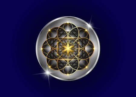 Gold Seed of life symbol Sacred Geometry. Luxury icon Geometric mystic mandala of alchemy esoteric Flower of Life sign. Golden and silver divine meditative amulet vector isolated on blue  イラスト・ベクター素材