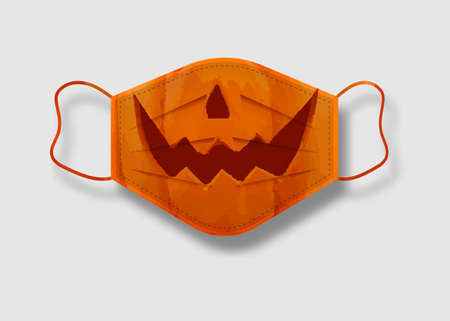 Halloween mask. Surgical mask for coronavirus protection with funny design pumpkin with nose and smile. Holiday costume vector illustration isolated on white background  イラスト・ベクター素材