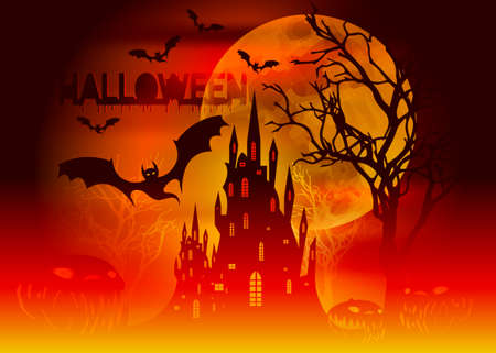 Halloween party, Mystic vector illustration, dark orange background on a spooky full moon with silhouettes of characters and scary bats with gothic haunted castle, horror theme concept