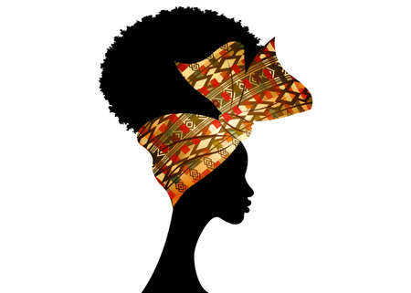 Portrait African woman wears fashion bandana for curly hairstyles. Shenbolen Ankara Headwrap Women. Afro Traditional Headtie Scarf Turban in tribal wax fabric design texture. Vector isolated on white