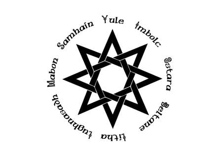 Book of Shadows Wheel of the Year Modern Paganism Wicca. Wiccan calendar and holidays. Compass with in the center the eight-pointed star symbol from the enchanted Celtic. Vector isolated on white
