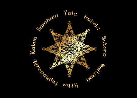 Book of Shadows Wheel of the Year Modern Paganism Wicca. Gold Wiccan calendar and holidays. Compass with in the center the eight-pointed star symbol from the enchanted Celtic. Vector isolated on black  イラスト・ベクター素材