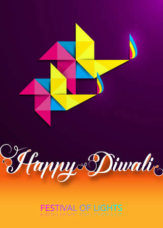 Happy Diwali Celebration in Origami style Graphic design of Indian Diya Oil Lamps in pinwheel shape, Paper cut Flat Design. Colorful Festival of Lights. Vector isolated on orange, purple background