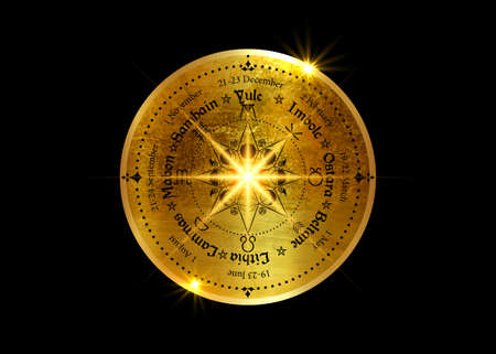 wheel of the Year is an annual cycle of seasonal festivals. Old Gold Wiccan calendar and holidays. Compass with triple moon Wicca pagan goddess and moon phases symbol, names in Celtic of the Solstices