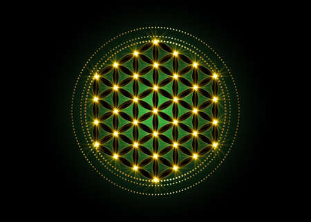 Flower of Life, Yantra Mandala, Sacred Geometry, glow Metatrons cube. Bright golden symbol of harmony and balance. Mystical gold shiny talisman in green color, vector isolated on black background