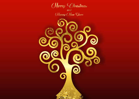 Tree of life isolated on red background, gold leaf in art deco style. Merry Christmas and Happy New Year theme, vector golden shiny luxury tree design for your holidays
