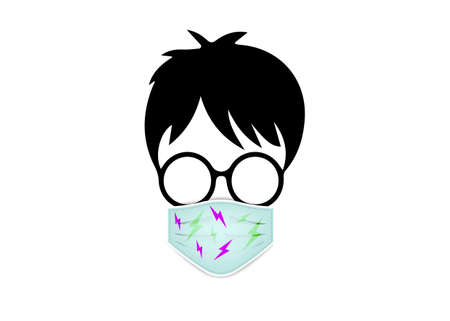 boy with round glasses wear the medical mask for coronavirus protection, surgical mask in lightnings pattern, vector isolated on white background
