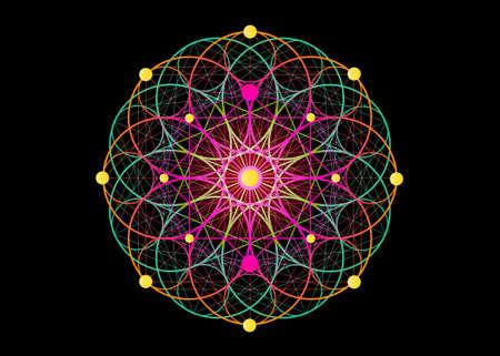 Seed of life symbol Sacred Geometry. Logo icon Geometric mystic colorful mandala of alchemy esoteric Flower of Life. Holy sign Vector divine Tibetan meditative amulet isolated on black background Logos