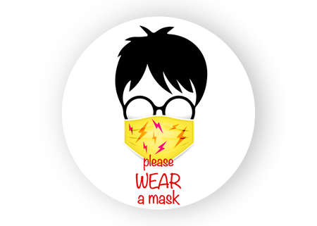 boy with glasses wear the medical mask for coronavirus protection, vector isolated on white background