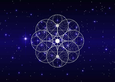 Seed of life symbol Sacred Geometry. Geometric mystic mandala of alchemy esoteric Flower of Life. Holy trinity. Vector white color divine meditative amulet isolated on shiny starry sky blue background